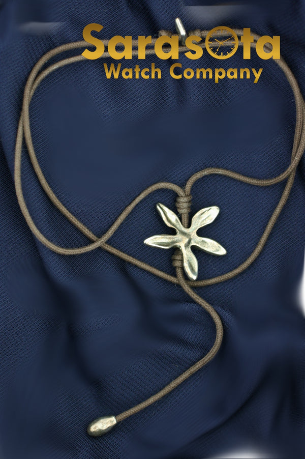 Uno de 50 Silver Plated Flower Pendant Adjustable Brown Cord Necklace Fashion