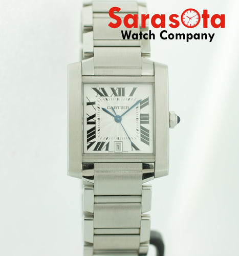Cartier Tank Francaise 2302 Large Silver Stainless Steel Automatic Men's Watch