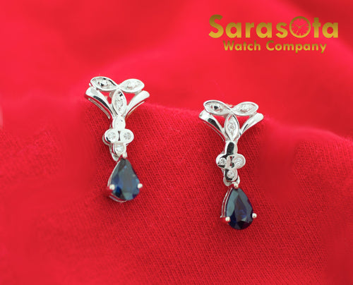 14k White Gold Pear Shape Sapphire & Diamonds Drop Stud Women's Earring's