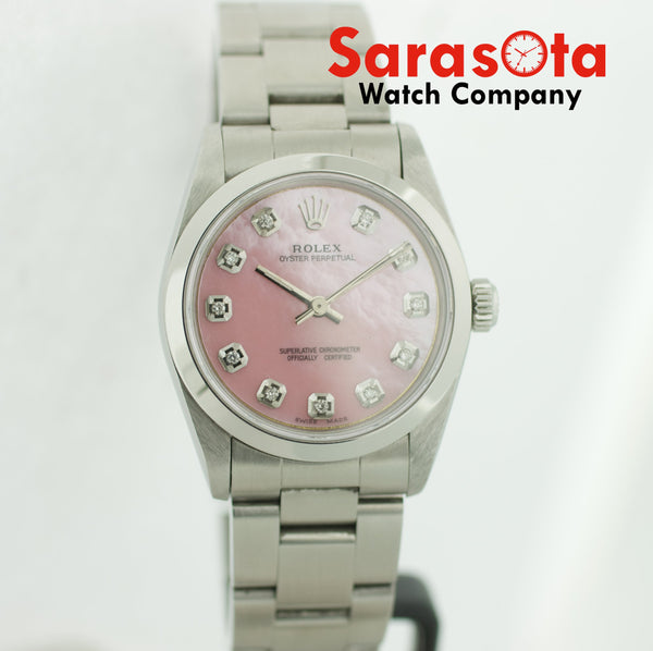 Rolex Oyster Perpetual 67480 31mm Steel Pink Diamond MOP Dial Auto Women's Watch