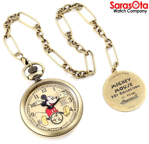 Disney Ingersoll IND25835 Gold Tone Stainless Steel Hand Wind Pocket Watch