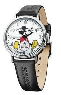 Disney Ingersoll IND26501 White Mickey Dial Black Leather Steel Men's Watch