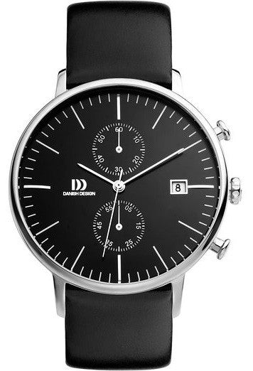 Danish Design IQ13Q975 Chronograph Black Dial Leather Strap Men's Watch