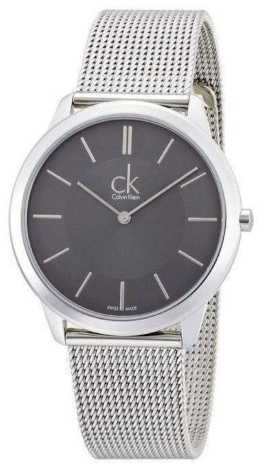 Calvin Klein K3M21124 Minimal Stainless Steel Mesh Swiss Quartz Mens Watch