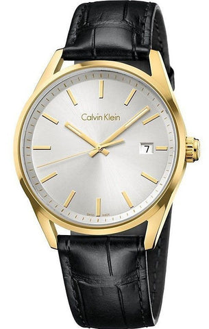 Calvin Klein K4M215C6 Gold Tone Stainless Steel Leather Swiss Quartz Men's Watch