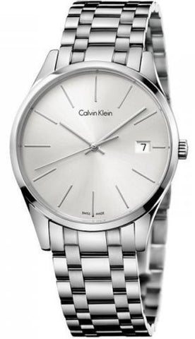 Calvin Klein K4N21146 Silver Dial Stainless Steel Swiss Quartz Dress Men's Watch