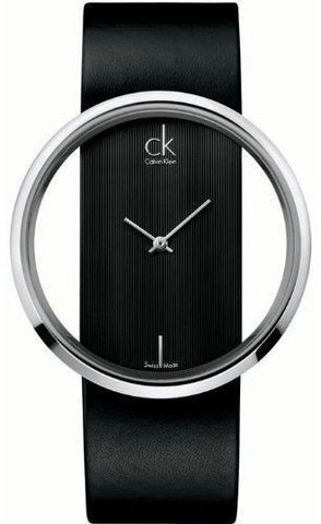 Calvin Klein K9423107 Black Dial Leather Strap Swiss Quartz Dress Women's Watch