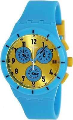 Swatch SUSS400 Chronograph Date Blue/Yellow Silicone Unisex Watch
