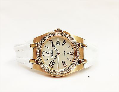 Pulsar PXT668 Leather Strap Collection Crystal Bezel MOP Dial Women's Watch