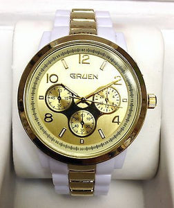 Gruen Dual Tone White & Gold Tone Women's Watch