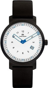 Danish Design IQ14Q1008 White Dial Black Leather Band Men's Watch