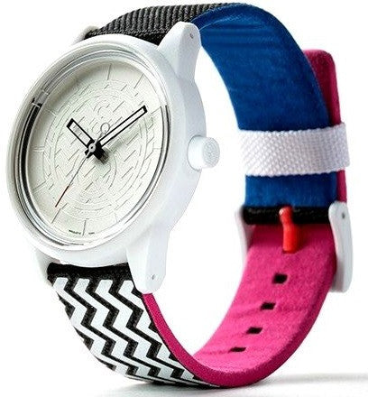 Q&Q RP00J0013Y Silver Dial Solar Powered PET Fabric Strap White Unisex Watch