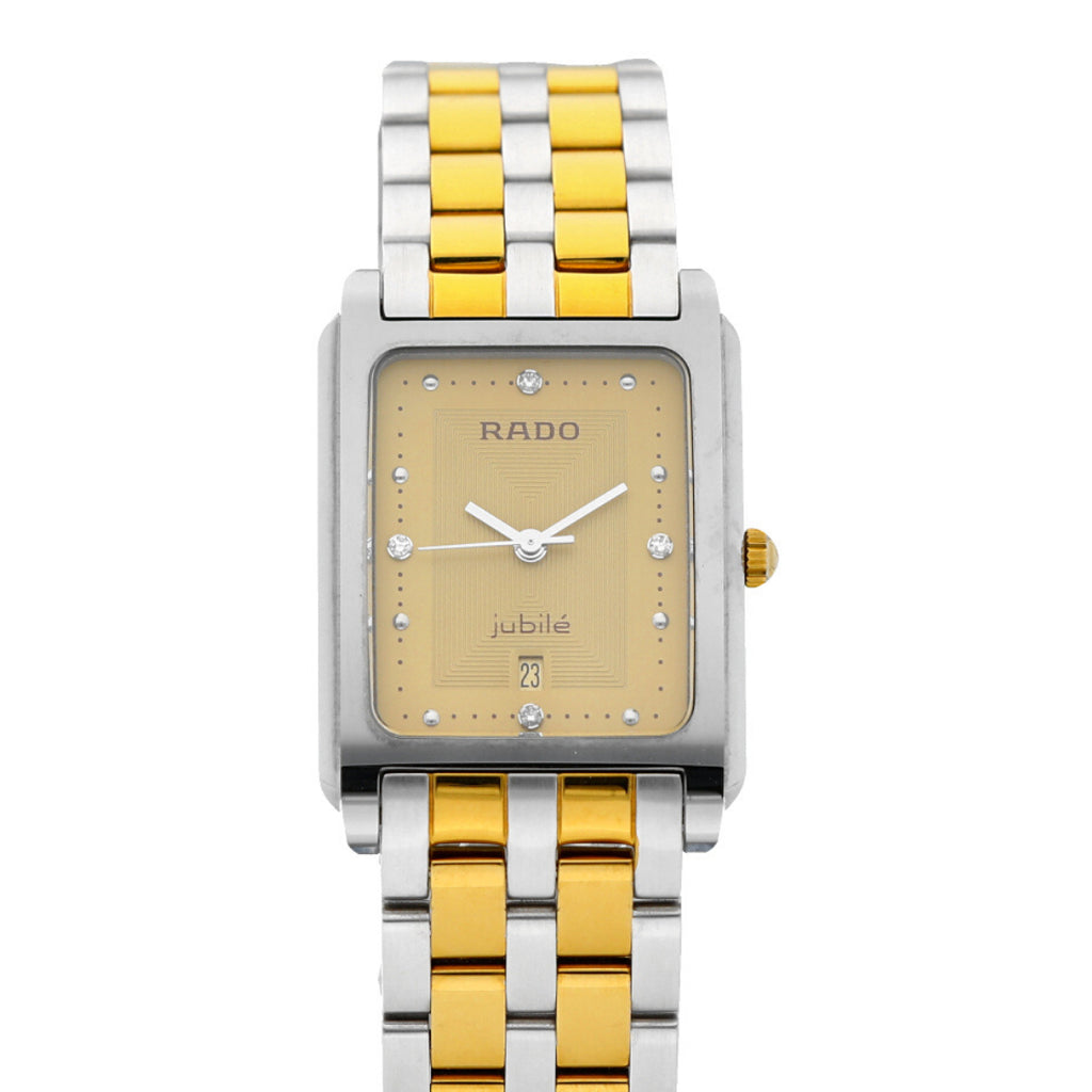 Rado Jubile R41762253 Champagne Diamond Accent Two Tone Rectangle Wrist Watch - Sarasota Watch Company