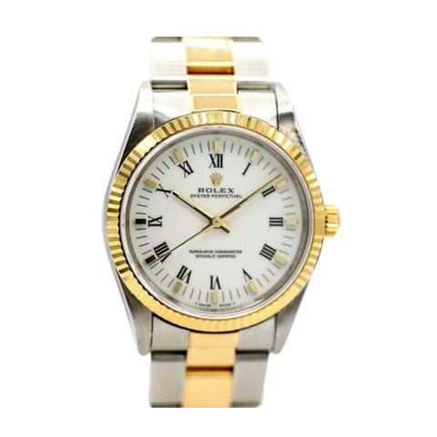 Rolex Oyster 14233 White Roman Dial 18k/Steel Two Tone Automatic Wrist Watch - Sarasota Watch Company