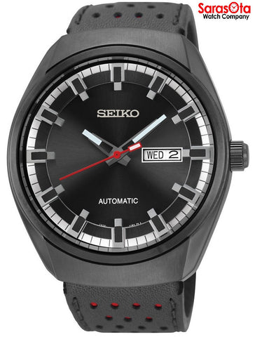 Seiko SNKN45 Recraft Day/Date Black Dial Leather Automatic Dress Men's Watch