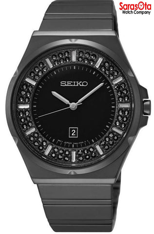 Seiko SXDG37 Black Crystal Dial Ion Plated Stainless Steel Dress Women's Watch