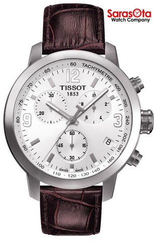 Tissot PRC200 T055.417.16.017.01 Chronograph Brown Leather Quartz Men's Watch