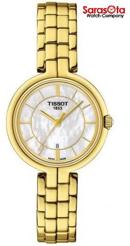 Tissot Flamingo T094.210.33.111.00 MOP Dial Gold Tone Steel Quartz Women's Watch