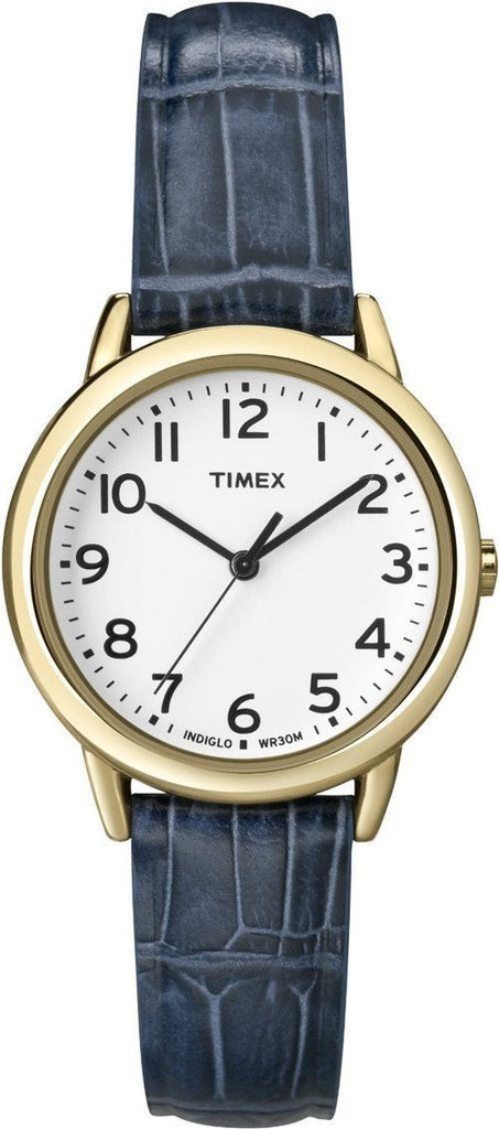 Timex T2N954 Elevated Classics Blue Leather Strap White Dial Dress Women's Watch
