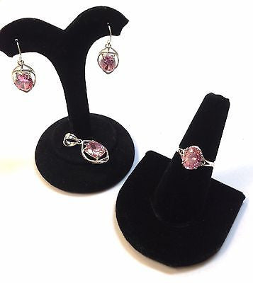 Sterling Silver.925 Cute Set Earrings+Ring+Pendant Pink Cubic Zirc Women's Gift