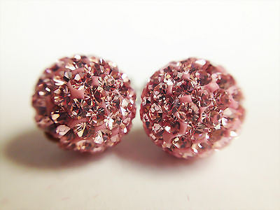 Swarovski Push Back Earrings with Pink Crystals Round Shape