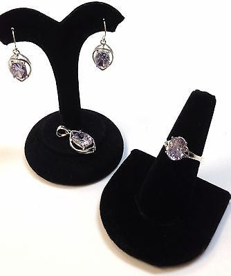 Sterling Silver.925 Sets Earrings+Ring+Pendant Lavender Cubic Zirc Women's Gift