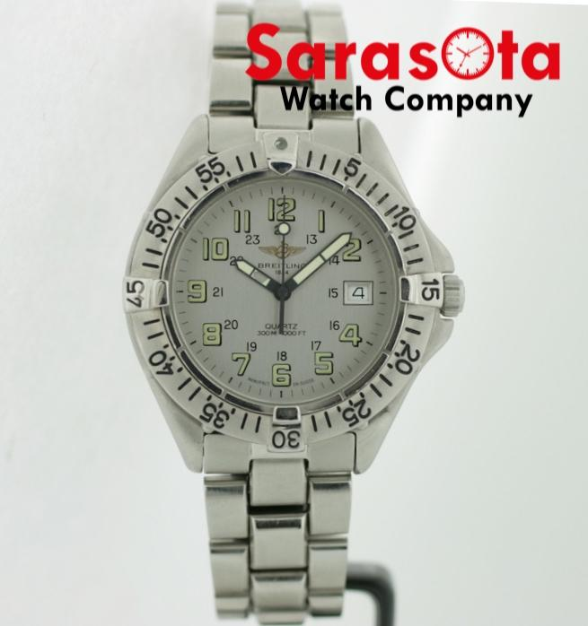 Breitling A57035 Gray Dial Arabic Stainless Steel 38mm Swiss Quartz Wrist Watch - Sarasota Watch Company