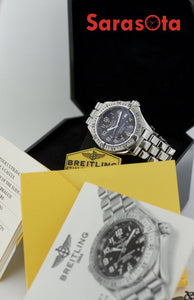 Breitling A17040 Superocean Steel 41mm Black Dial Swiss Automatic Wrist Watch