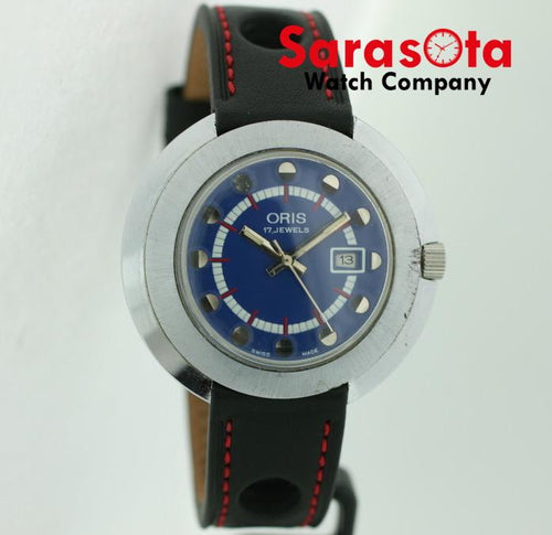 Vintage Oris 42mm Steel Case Hand Winding Blue Dial Leather Strap Wrist Watch