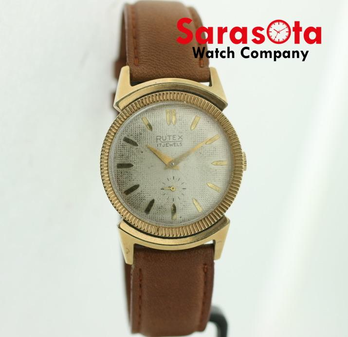 Vintage Rutex Gold Plated 31mm Case Brown Leather Hand Winding Wrist Watch - Sarasota Watch Company