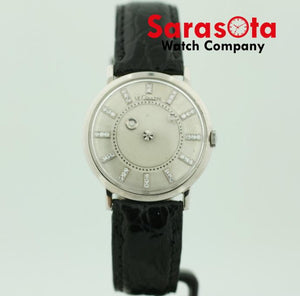 Le-Coultre 14k White Gold Mystery Diamond Dial Leather Hand Winding Wrist Watch