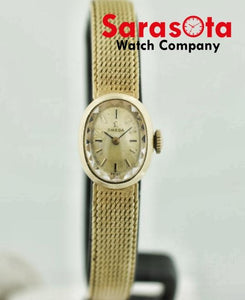 Vintage Omega 14k Yellow Gold Swiss Hand Winding Oval 16mm Petite Ladies Watch