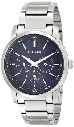 Citizen Eco Drive BU2010-57L Day Date Stainless Steel Blue Dial Men's Watch