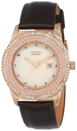 Citizen Eco Drive FE1113-03A Brown Leather Strap Rose Gold Tone Women's Watch