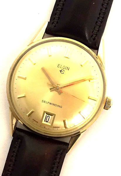 Vintage Elgin 10K Gold Filled Round Leather Automatic Analog Dress Men's Watch