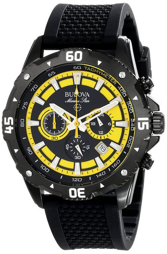Bulova 98B176 Chronograph Black/Yellow Dial Rubber Strap Sport Men's Watch