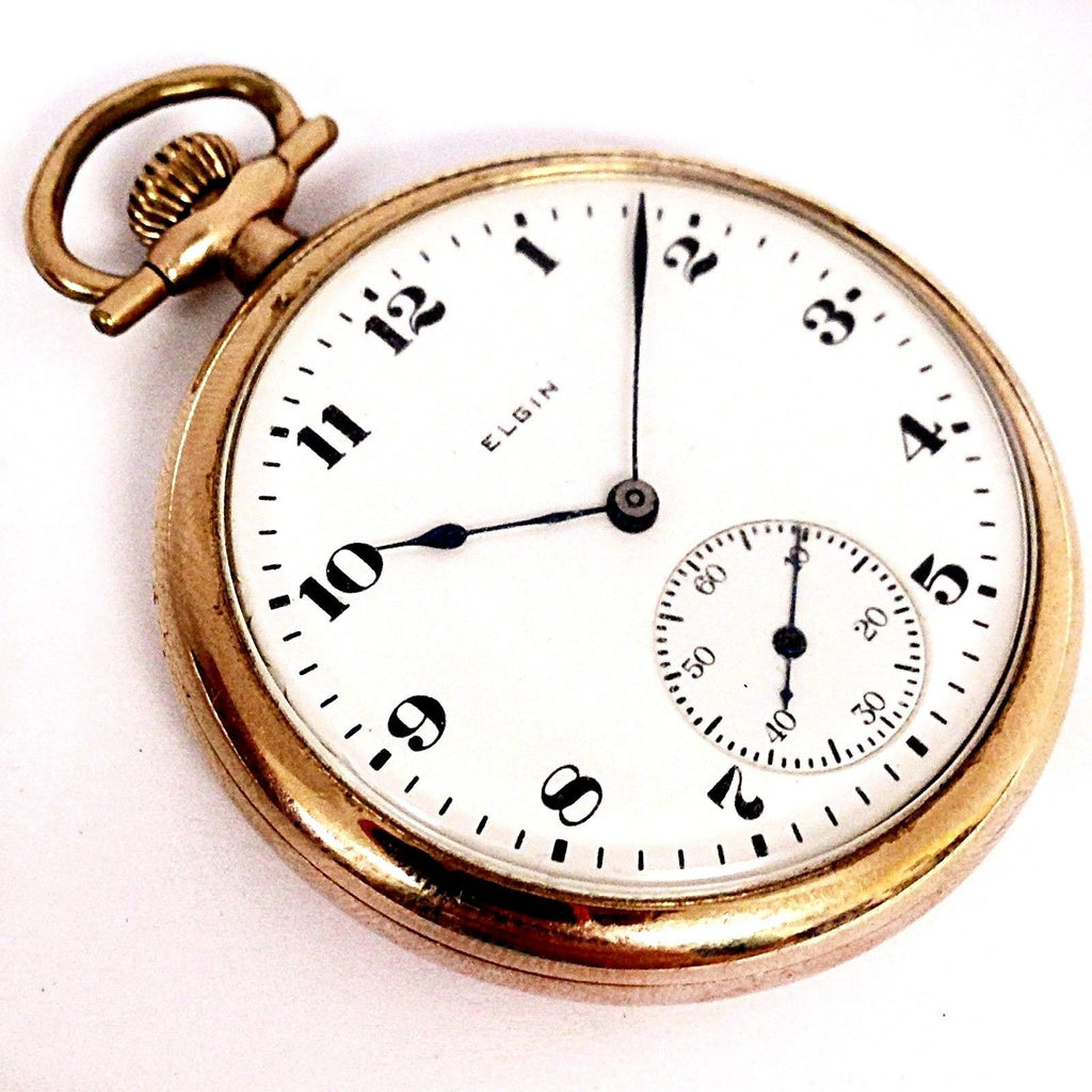 Vintage Elgin 15 Jewels Size 12 White Dial Hand Wind Unique Design Pocket Watch