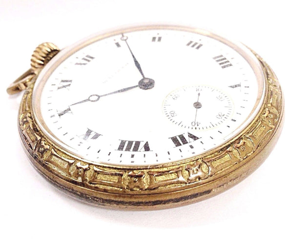 Vintage Waltham Size 16 17 Jewels White Roman Dial Unique Pocket Watch