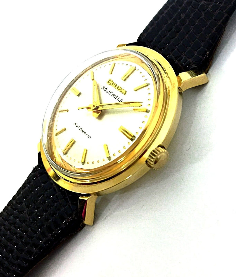 Vintage Bulova 14K Solid Gold Case 30 Jewels Automatic Leather Dress Men's Watch