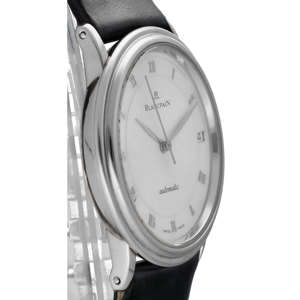 Blancpain Villeret 989 Stainless Steel 34mm Ultra Thin Automatic Black Leather Strap Men's Watch
