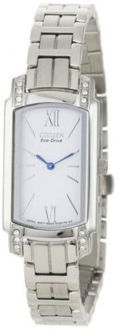 Citizen Eco Drive EG2720-51A White Dial Rectangle Stainless Steel Women's Watch