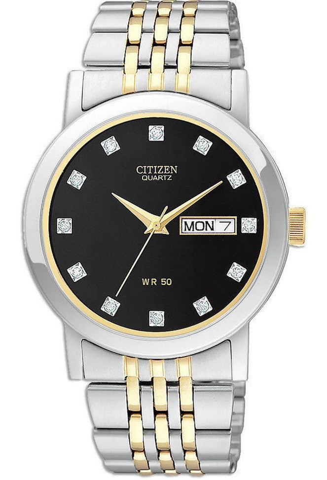 Citizen Quartz BK4054-53E Black Crystal Dial Stainless Steel Two Tone Mens Watch