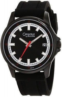 Caravelle By Bulova 45B115 Stainless Steel Black Dial Rubber Strap Men's Watch