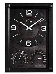 Bulova C3732 CONCEPT Thermometer Hygrometer Black Finish Clock