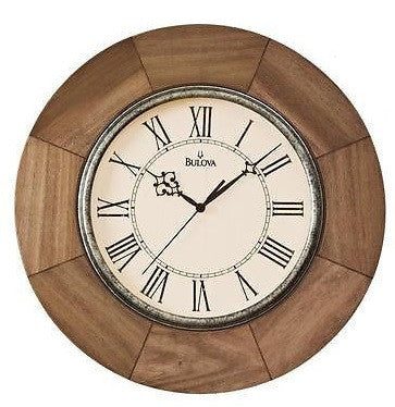 Bulova C4223 DAKOTA Solid Wood Case Weathered Light Oak Finish Clock