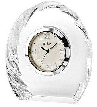 Bulova B6856 Corinth Crystal Case Roman Numeral Dial Tabletop Clock