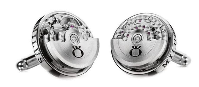 Milus CUF051 Stainless Steel Clockwork 360 Degrees Rotatable Cufflinks - Sarasota Watch Company