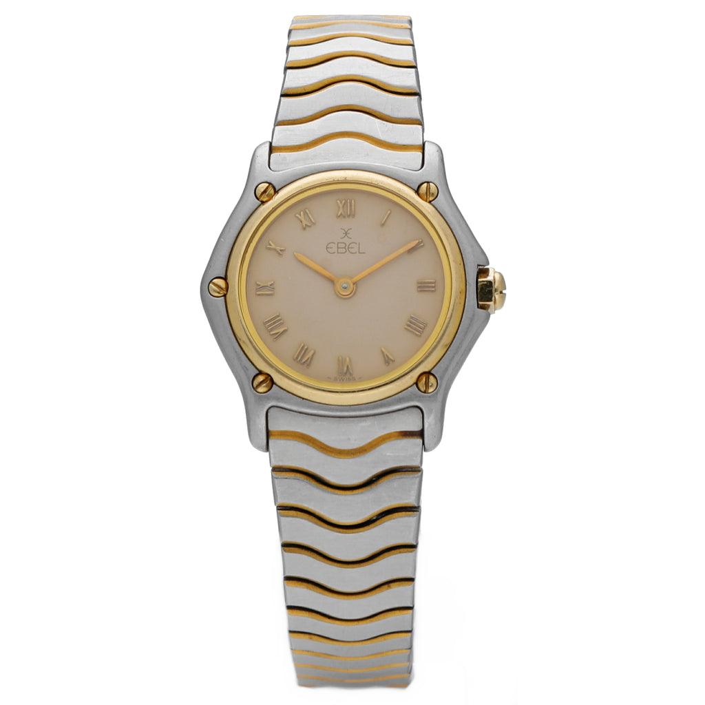 Ebel Classic Wave 1057901 Beige Roman Dial 18k Gold/Steel Quartz Women's Watch