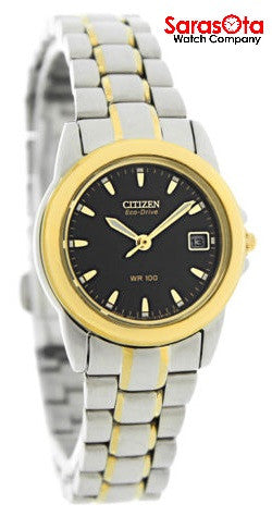Citizen Eco Drive EW1624-56E Black Dial Two Tone Steel Dress Women's Watch