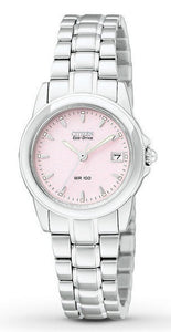 Citizen Eco Drive EW1620-57X Pink Dial Stainless Steel Band Date Women's Watch